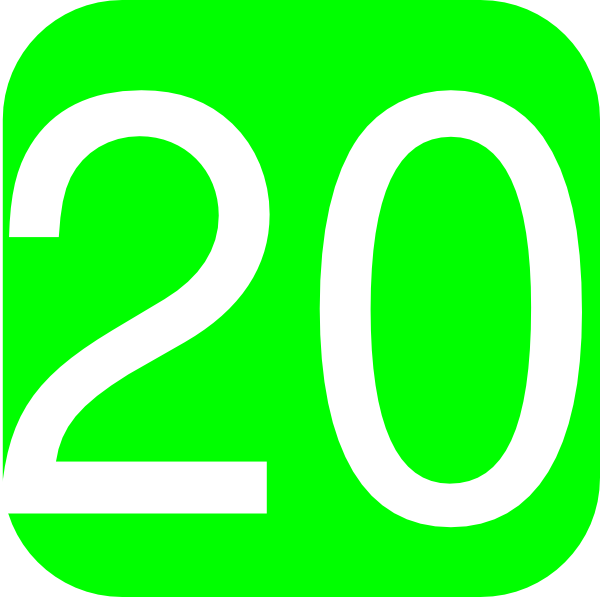 Lime Green, Rounded, Square With Number 20 Clip Art at Clker.