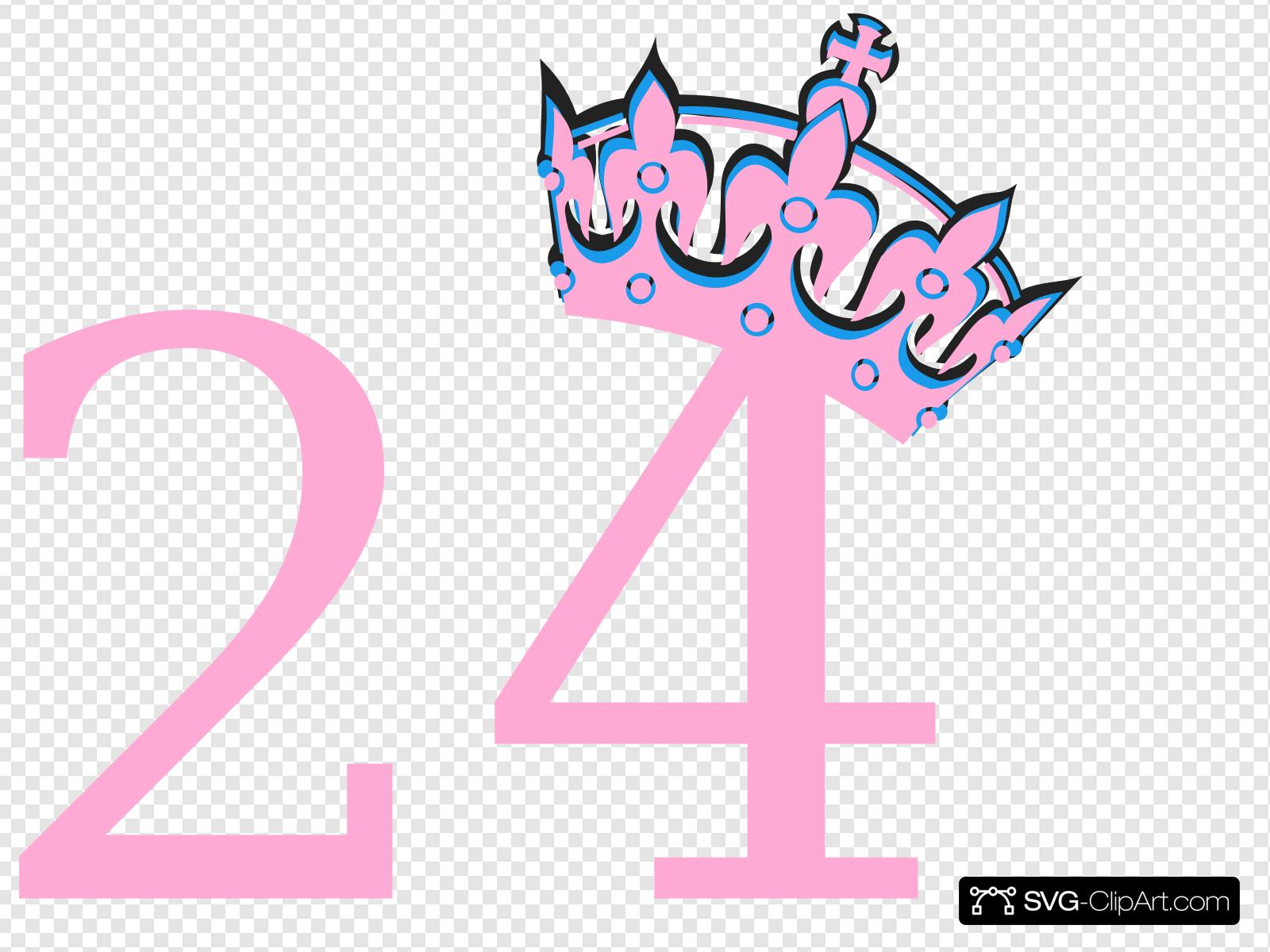 Pink Tilted Tiara And Number 24 Clip art, Icon and SVG.
