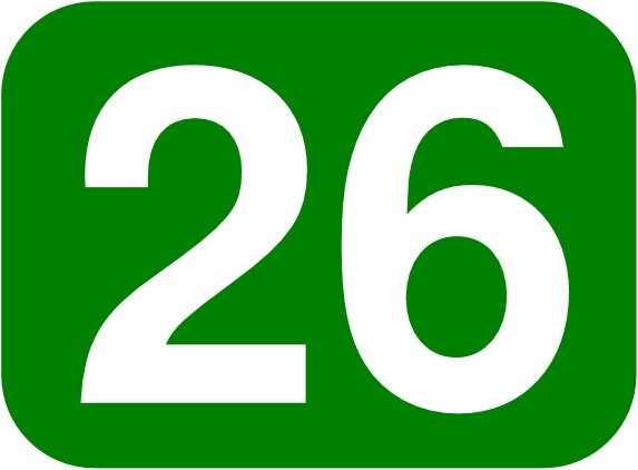 Green Rounded Rectangle With Number 26 clip art Free vector.