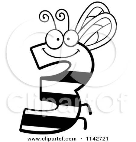 Cartoon Number 3 Clipart Black And White.