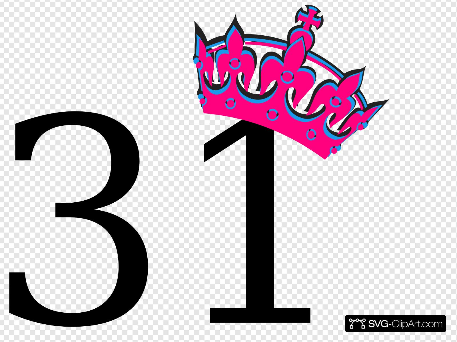 Pink Tilted Tiara And Number 31 Clip art, Icon and SVG.