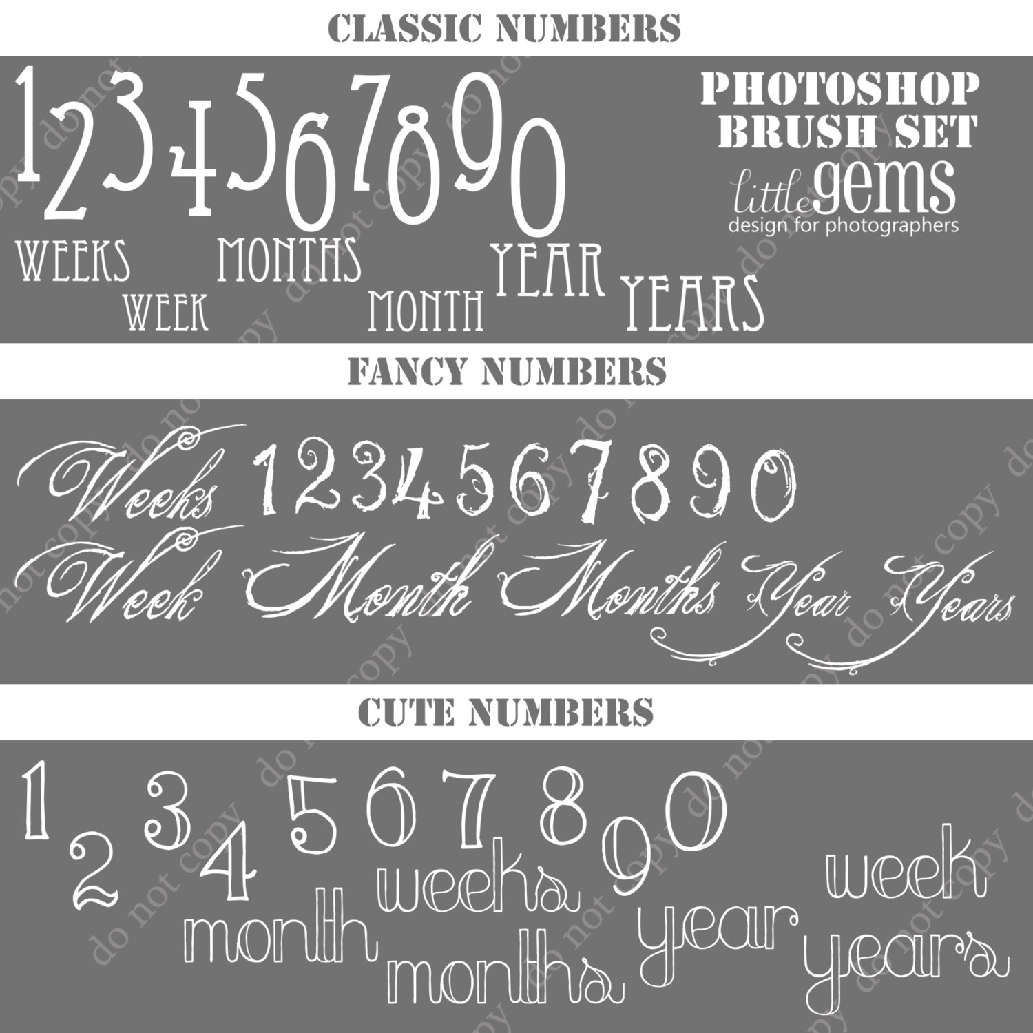 Numbers and Dates Photoshop Brushes/ Overlays for Photographers.