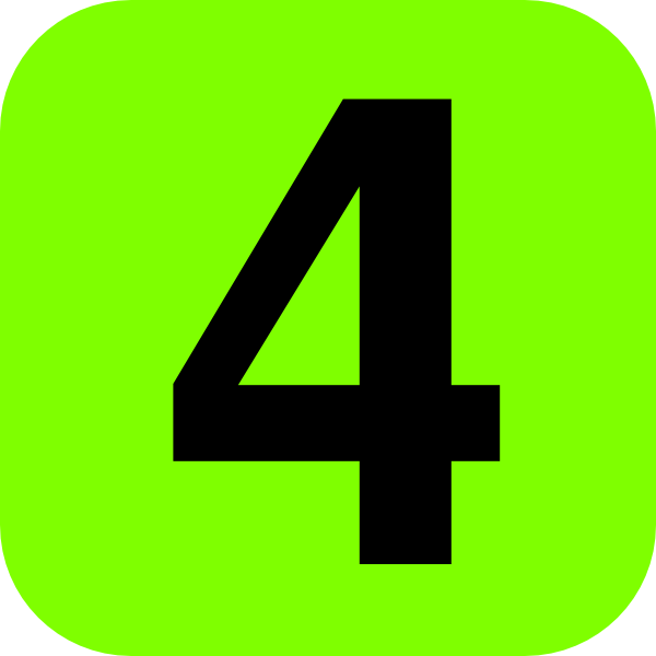 Green Number 4 Clipart.