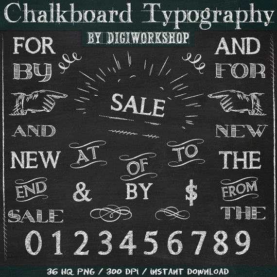 Chalkboard Clip Art Clipart Typography