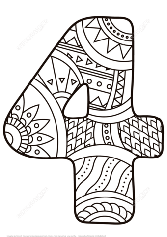 Number 4 Zentangle coloring page.