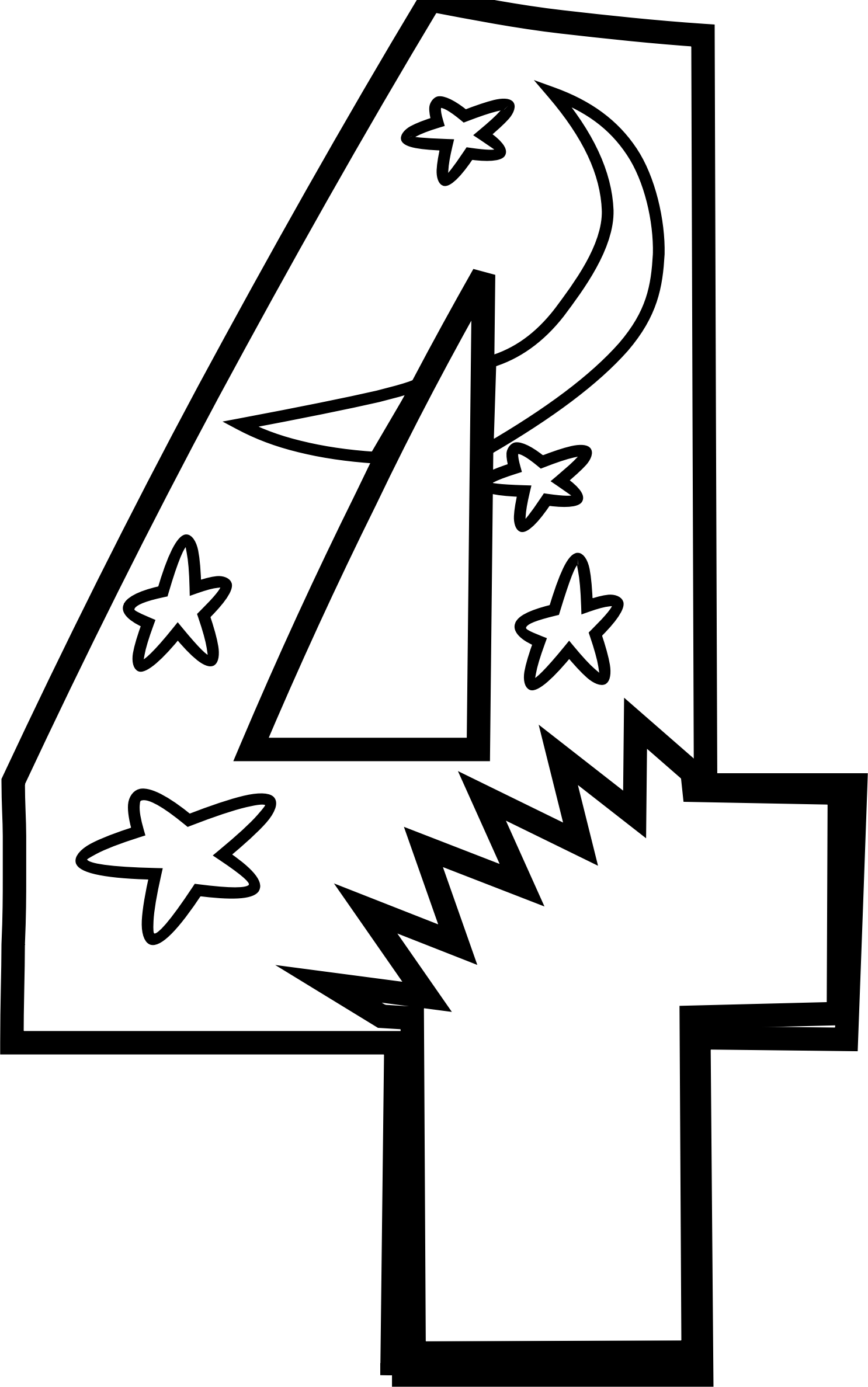 number 4 coloring sheets clipart black and white - Clipground