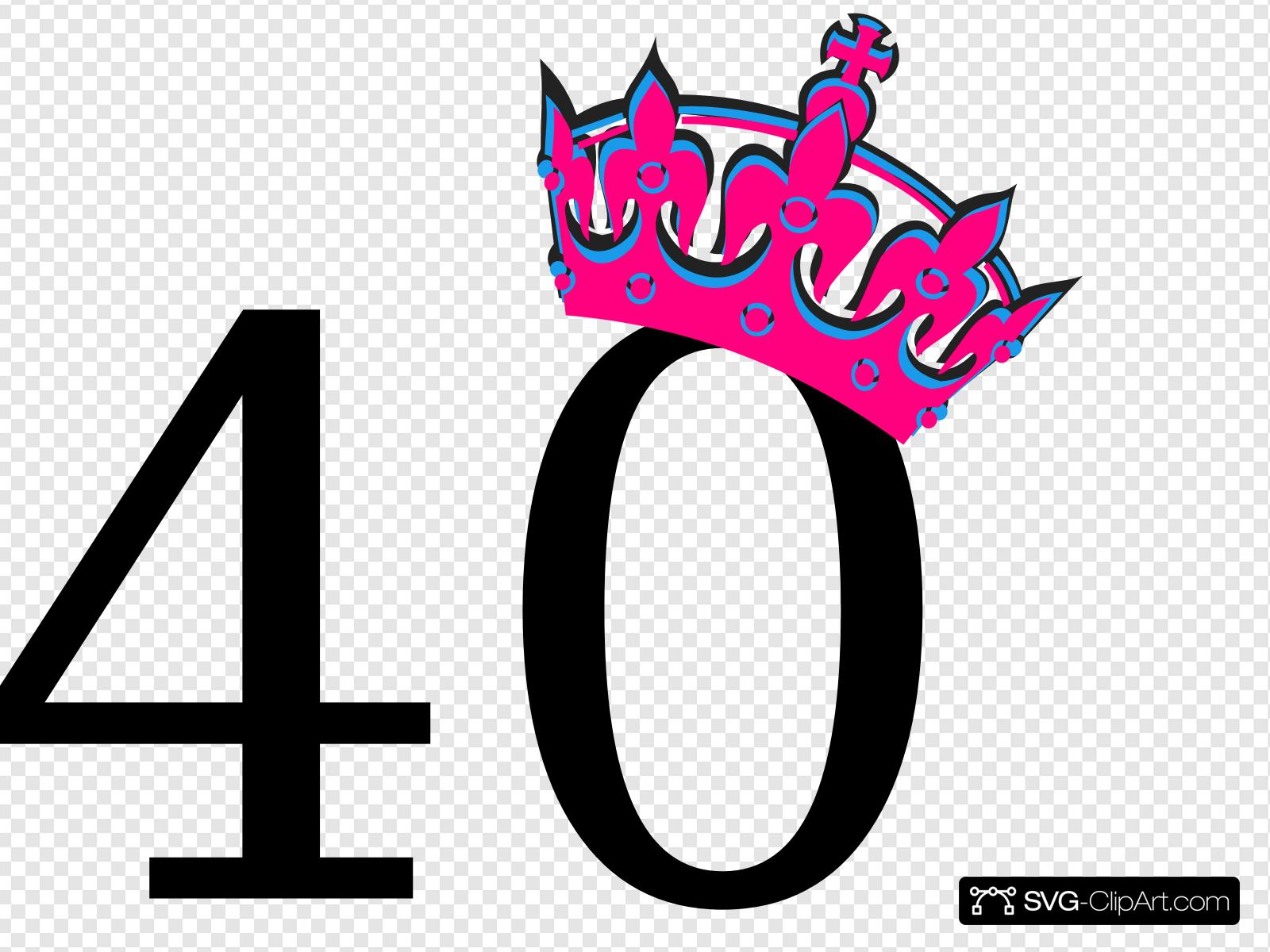 Pink Tilted Tiara And Number 40 Clip art, Icon and SVG.
