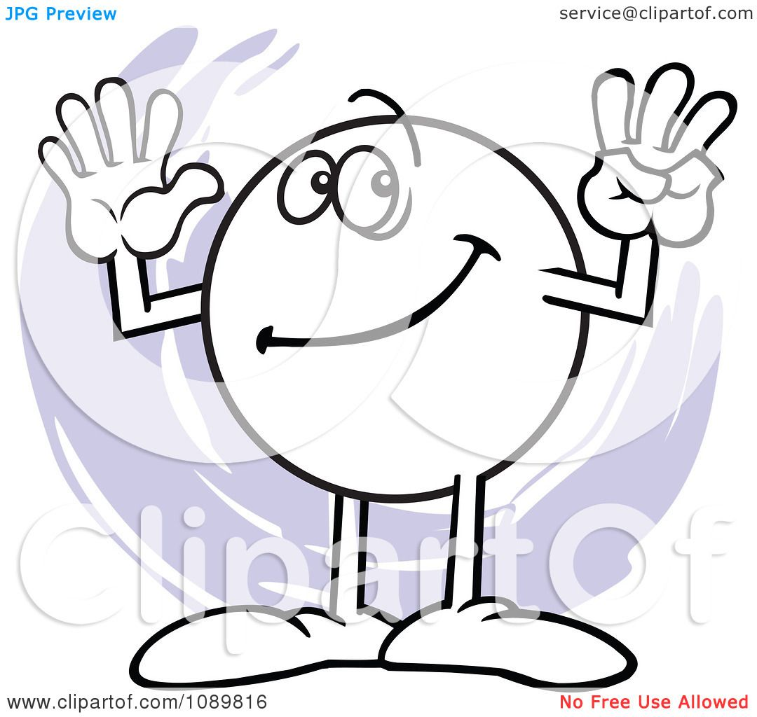 number 8 character clipart black and white #12