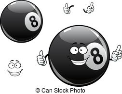 Clipart Vector of Smiling number 8 billiard ball.