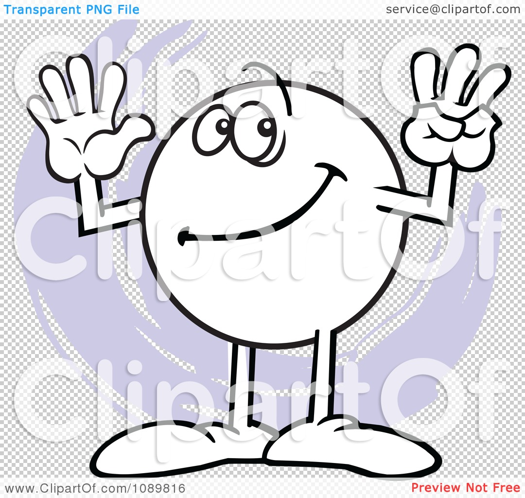 Clipart Moodie Character Counting Number 8 With His Fingers.