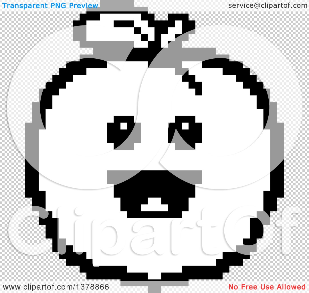 Clipart of a Black and White Happy Peach Character in 8 Bit Style.