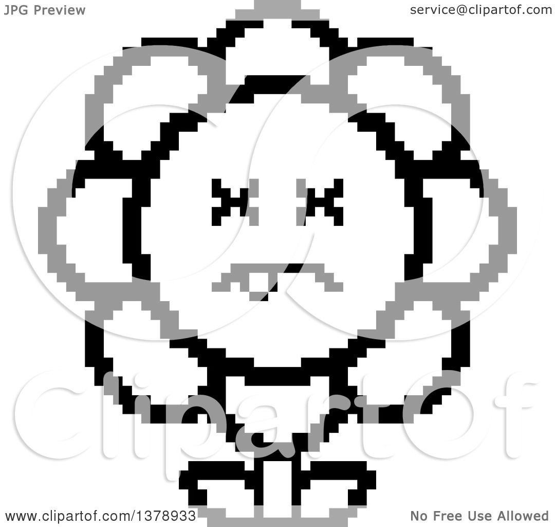 Clipart of a Black and White Dead Daisy Flower Character in 8 Bit.