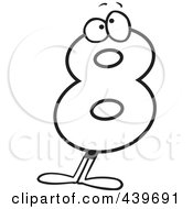 number 8 character clipart black and white #15