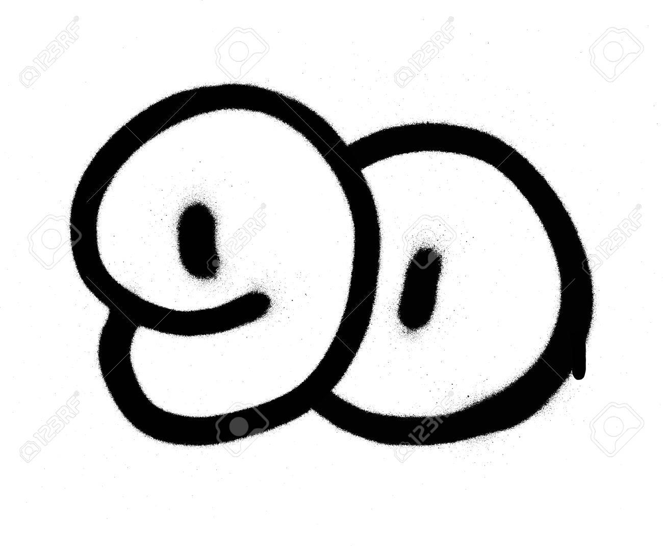 graffiti number 90 ninety sprayed in black over white.