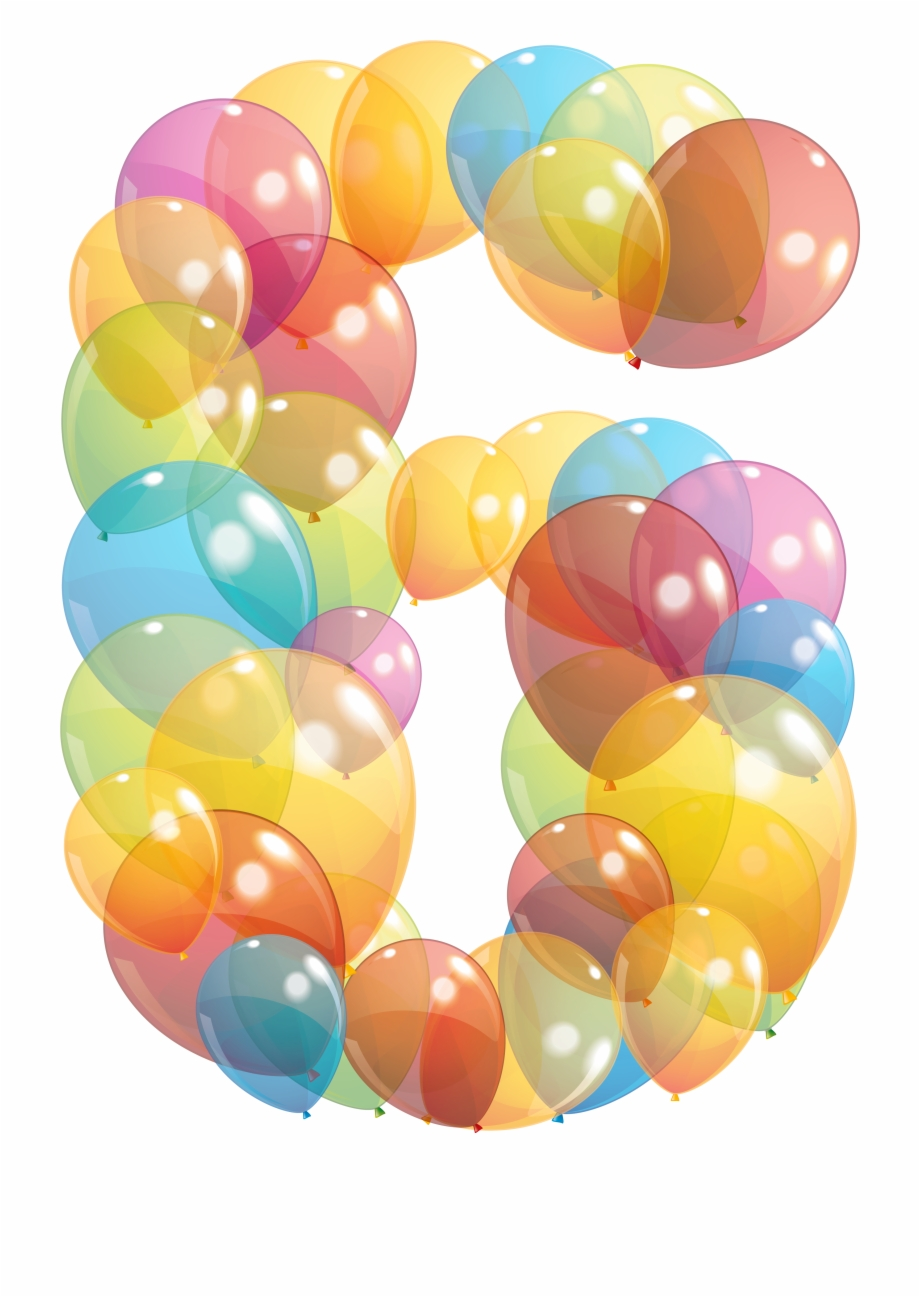 Transparent Six Number Of Balloons Png Clipart Image.