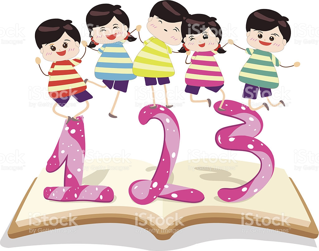Happy Kids Playing With Number And On Book stock vector art.