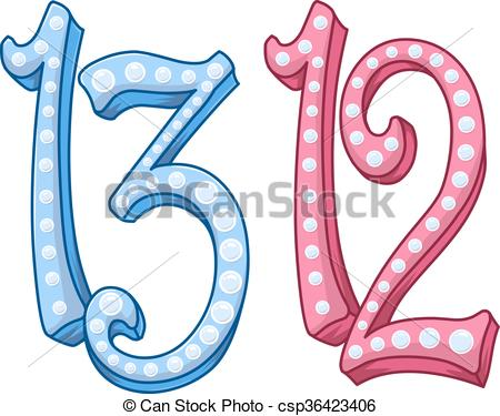 Vector Clipart of Pink Blue Shiny Number 12 13 For Bar Bat Mitzvah.