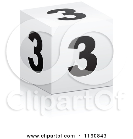 Clipart of a 3d Black and White Number 3 Cube.