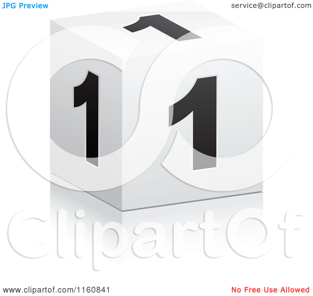 Clipart of a 3d Black and White Number 1 Cube.