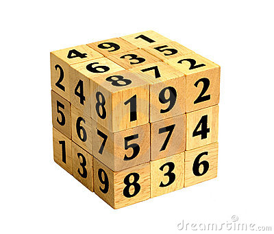 Number Cube Puzzle Stock Images.
