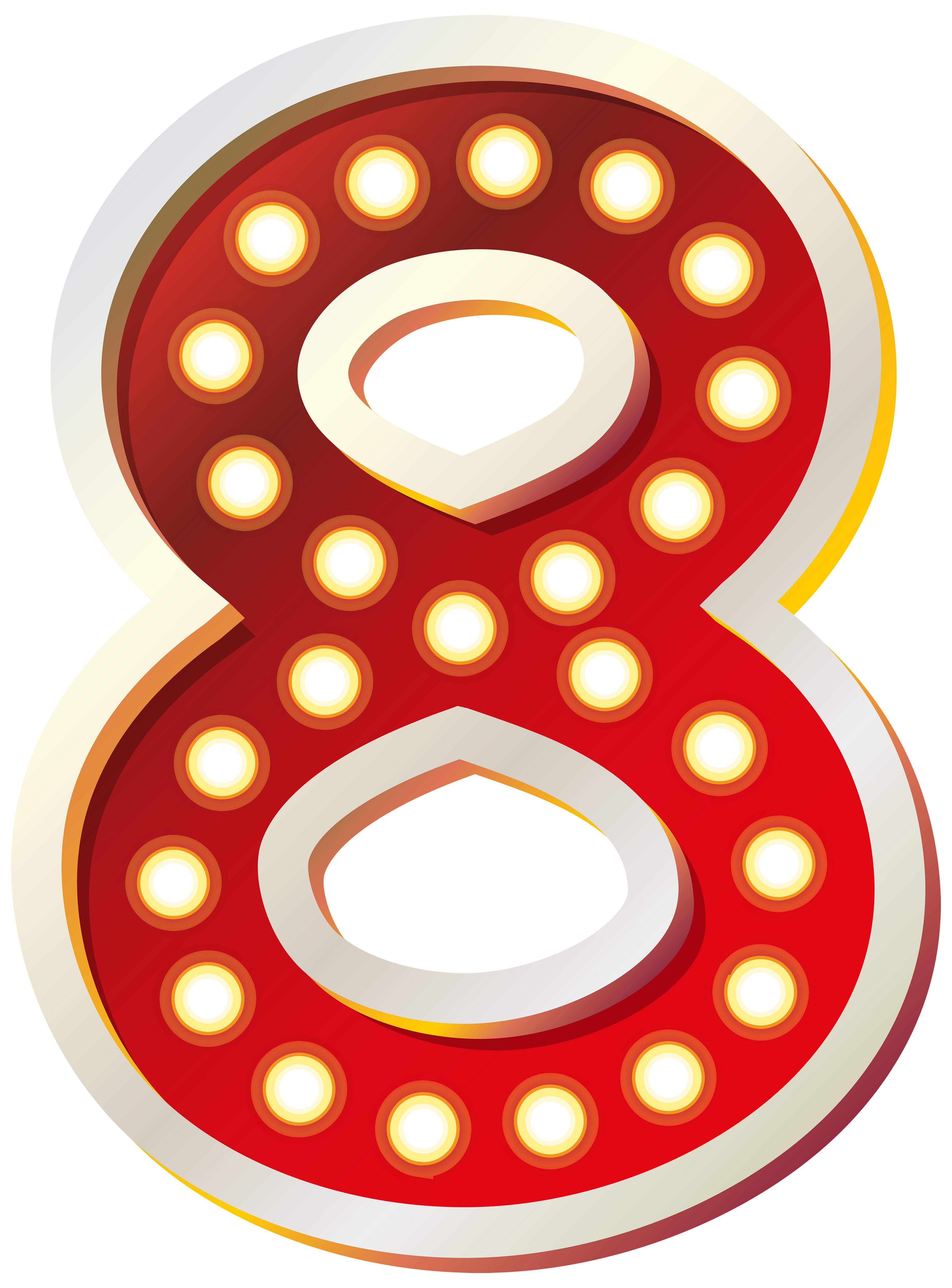 Red Number Eight with Lights PNG Clip Art Image.