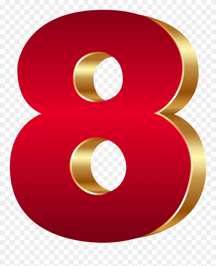 3d Number Eight Red Gold Png Clip Art Image Transparent Png.