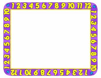 Borders / Frames:123 Numbers Border / Frame Clip Art Set.