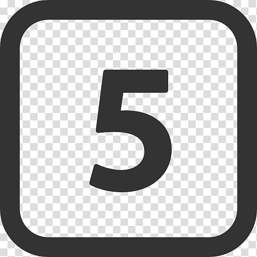 Black number 5 illustration, Computer Icons Number Scalable.