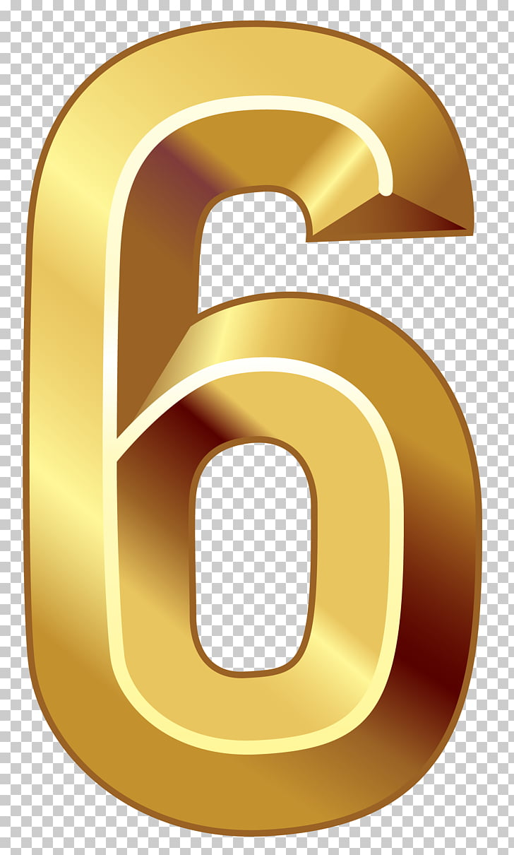 Yellow Circle Trademark, Gold Number Six , brown number 6.