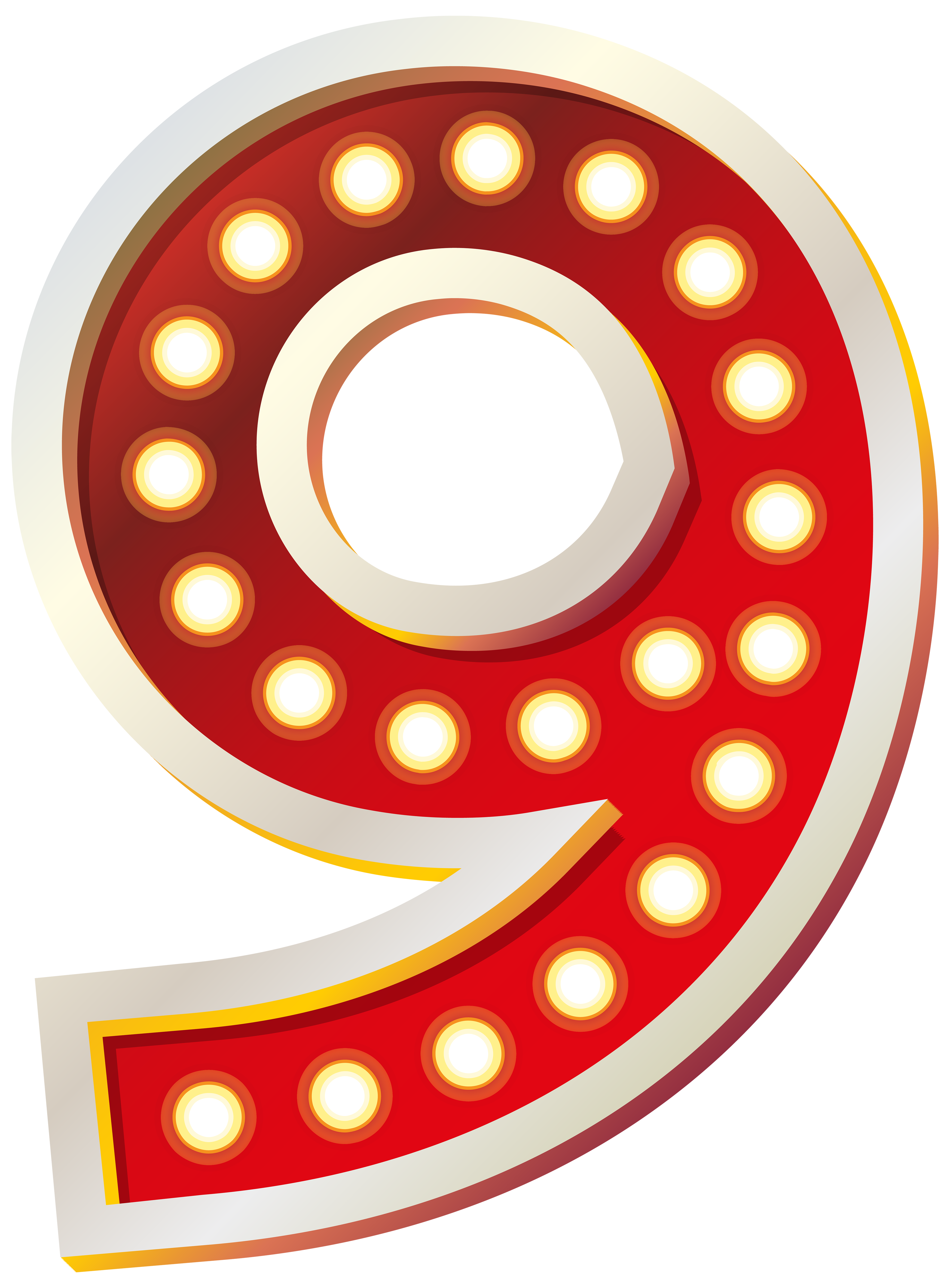 Red Number Nine with Lights PNG Clip Art Image.