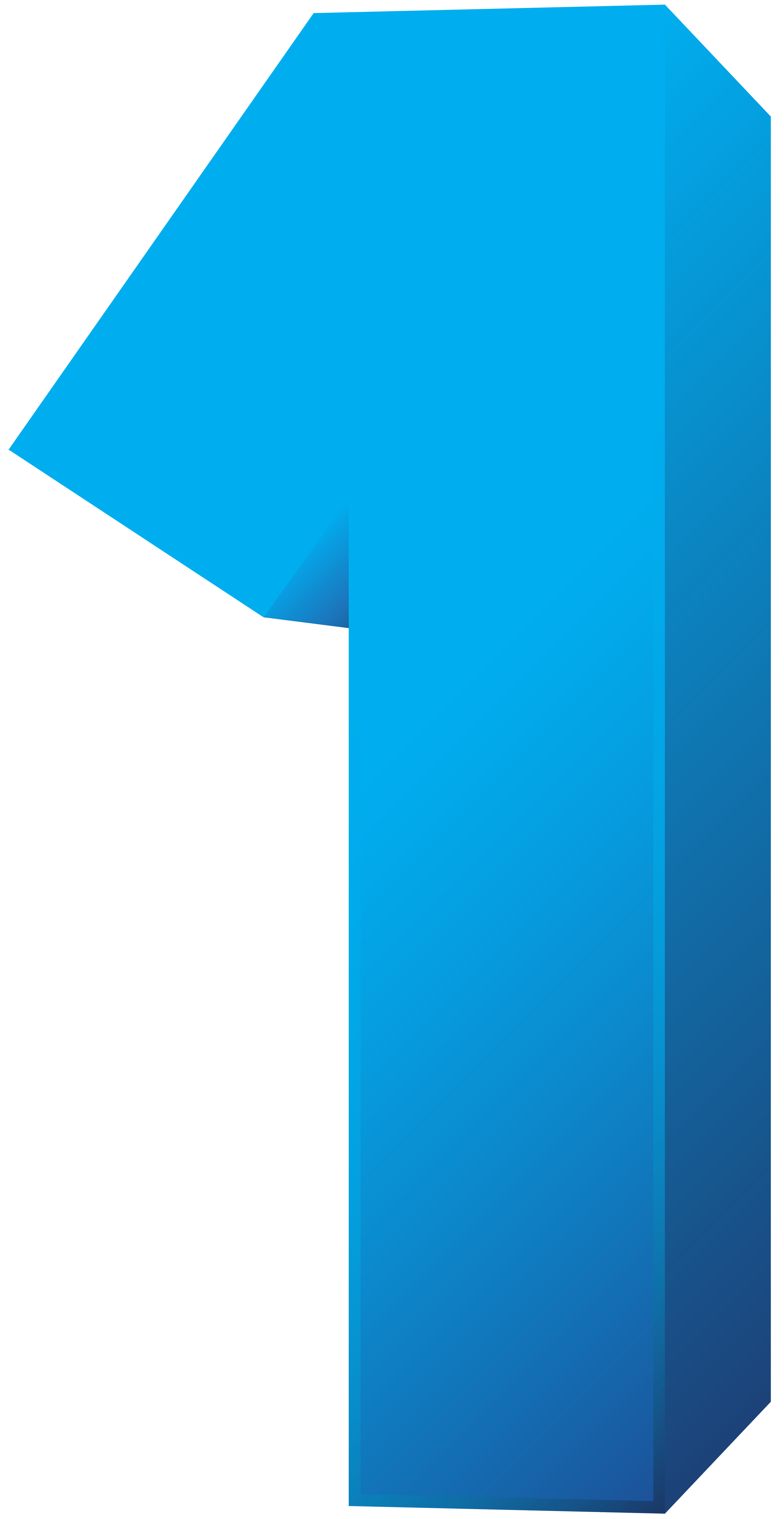 Blue Number One Transparent PNG Clip Art Image.