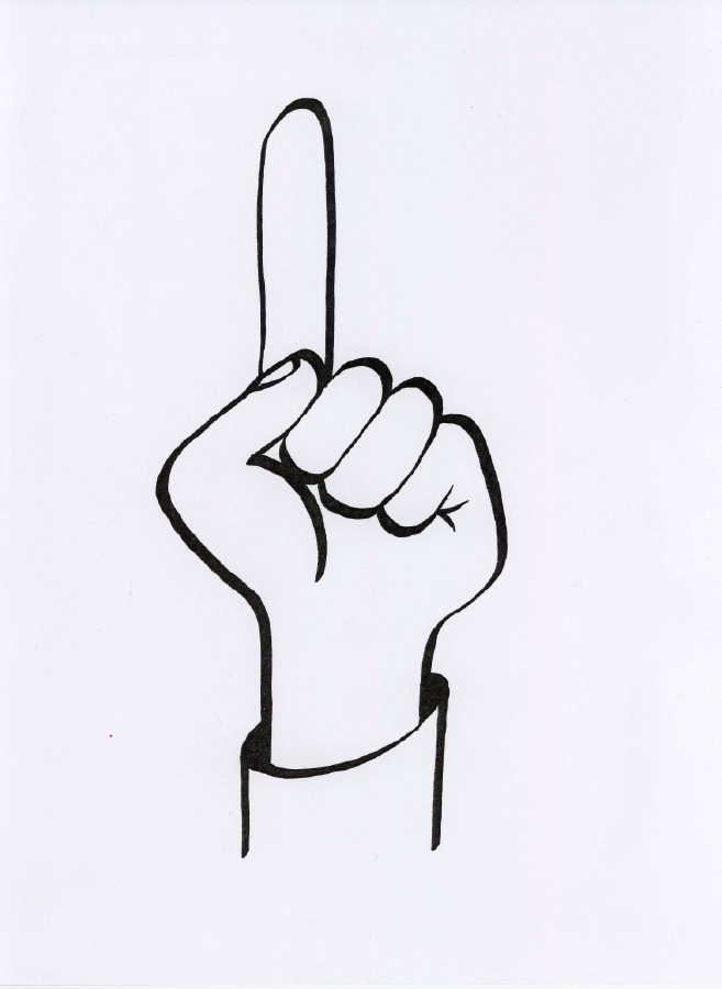 Clipart of Number One Finger sign free image.