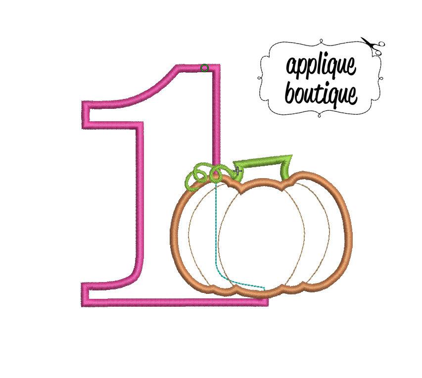 INSTANT DOWNLOAD, Machine Applique Design, Number One with Pumpkin.