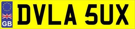 The DVLA Number Plate.