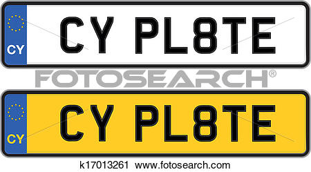 Clipart of cyprus number plate k17013261.