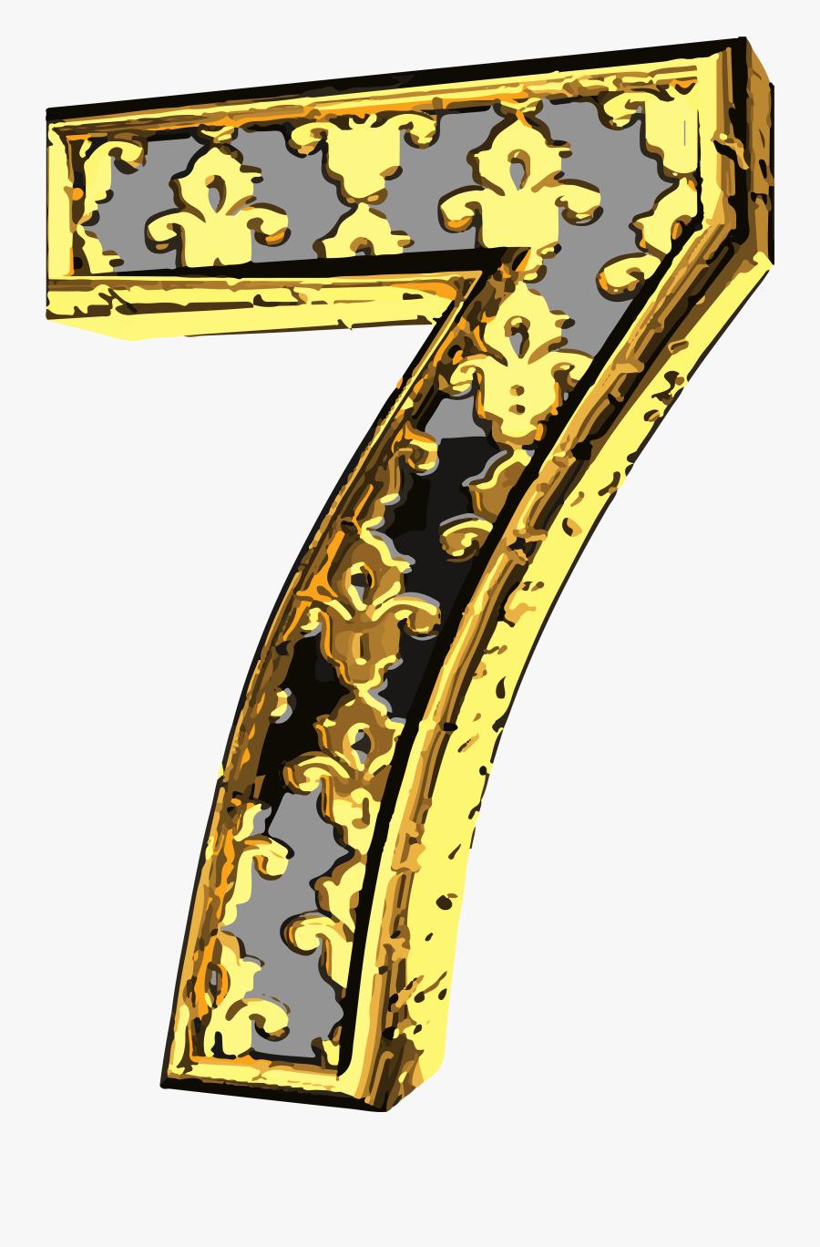 Elegant Vintage Number Seven Png Clip Art Image.