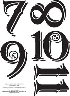 Vintage Table Numbers Template Letter & number stencil/templates.
