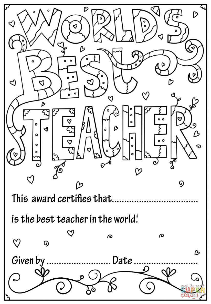 Number 1 Teacher Coloring Pages.