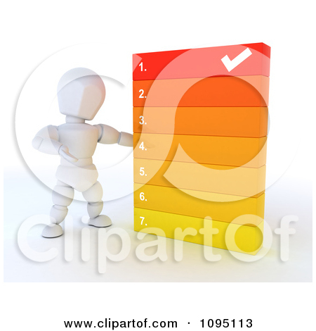 Clipart 3d White Character Going Over A Numbered List.
