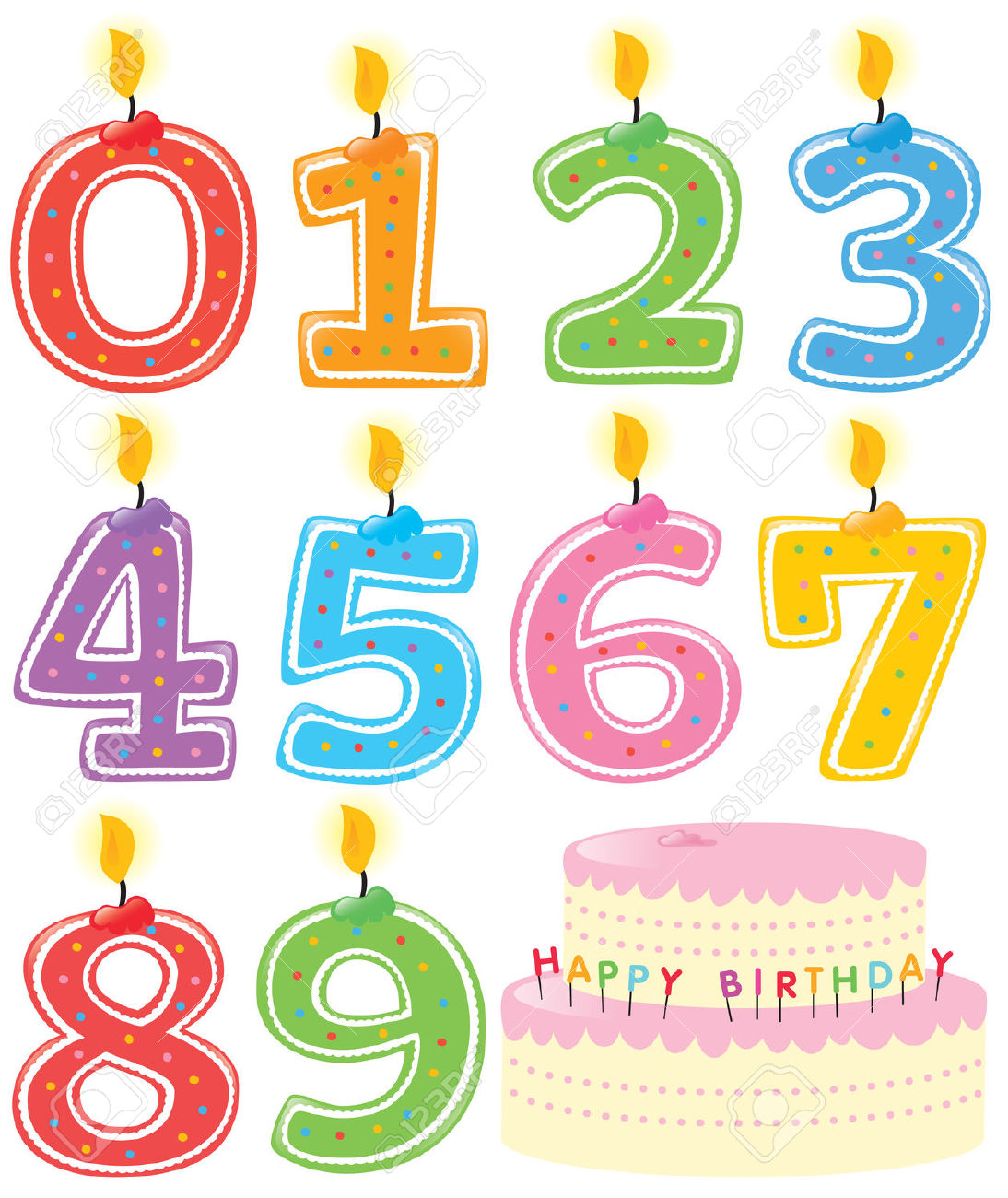 Numbered Birthday Candles And Cake Royalty Free Cliparts, Vectors.