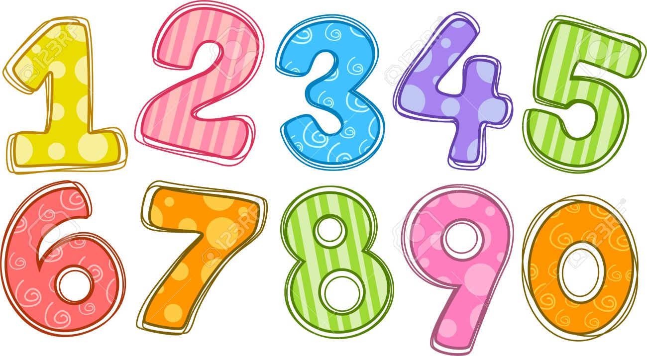 Cute numbers clipart 1.