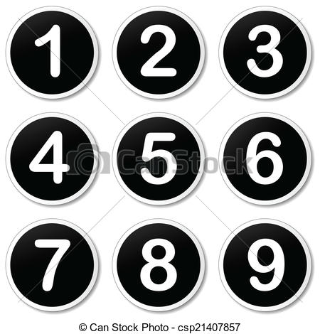 Clipart Vector of Vector numbering icons.