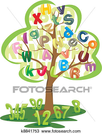 Tree with letters and numbers Clipart.
