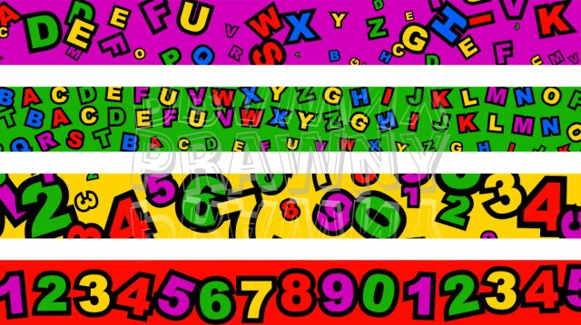 Preschool Alphabet and Numbers Page Border Clip Art Set.