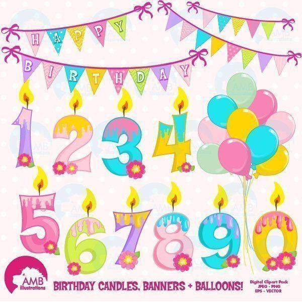 Birthday Candles and Numbers clipart.