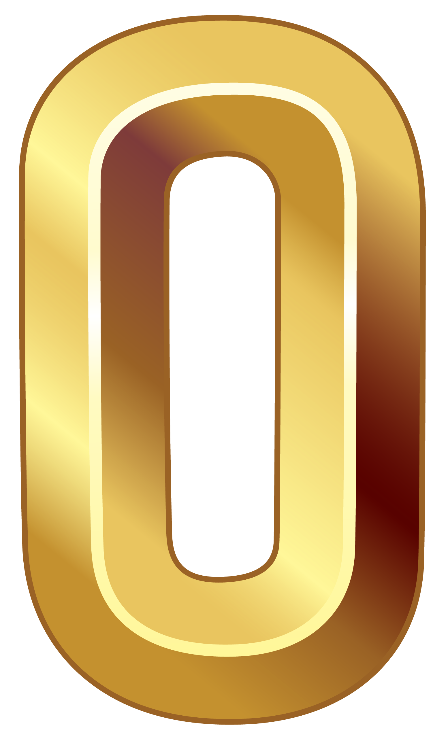 Gold Number Zero PNG Clipart Image.