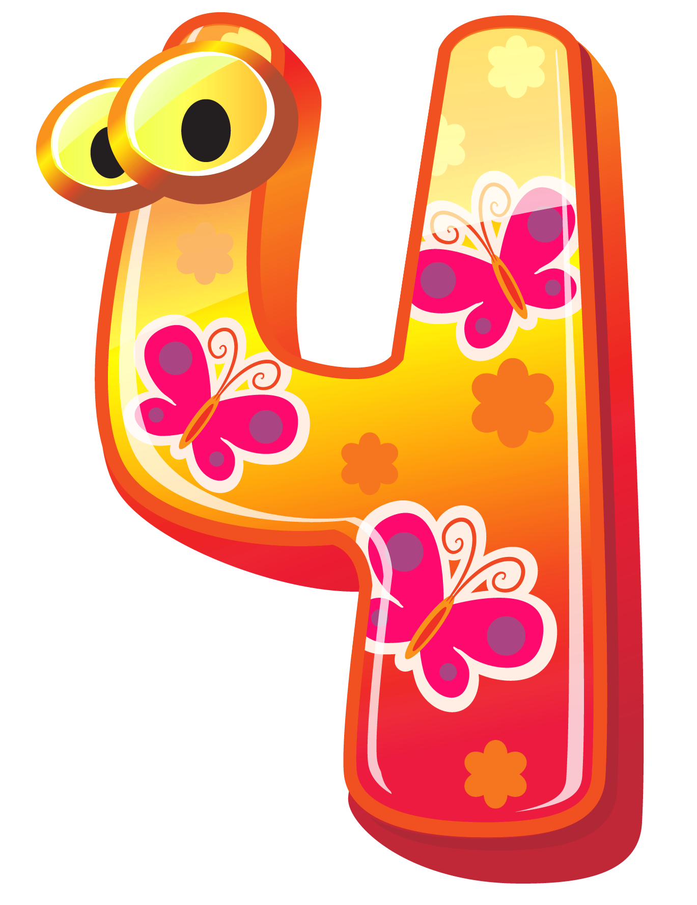 Cute Number Four PNG Clipart Image.