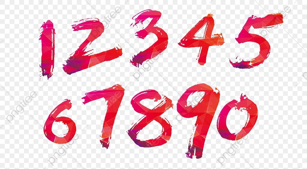 Color Handwritten Numbers, Color Clipart, Numbers Clipart.