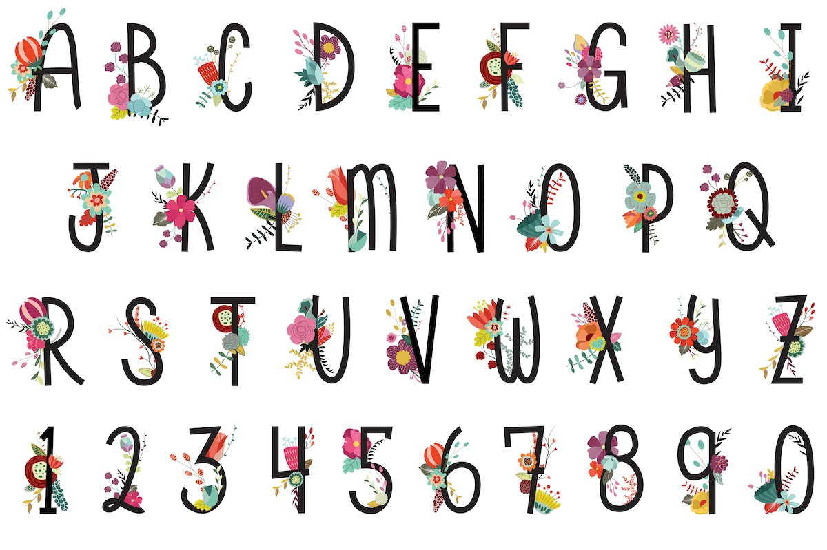 Floral Letters & Numbers Vector, PNG.