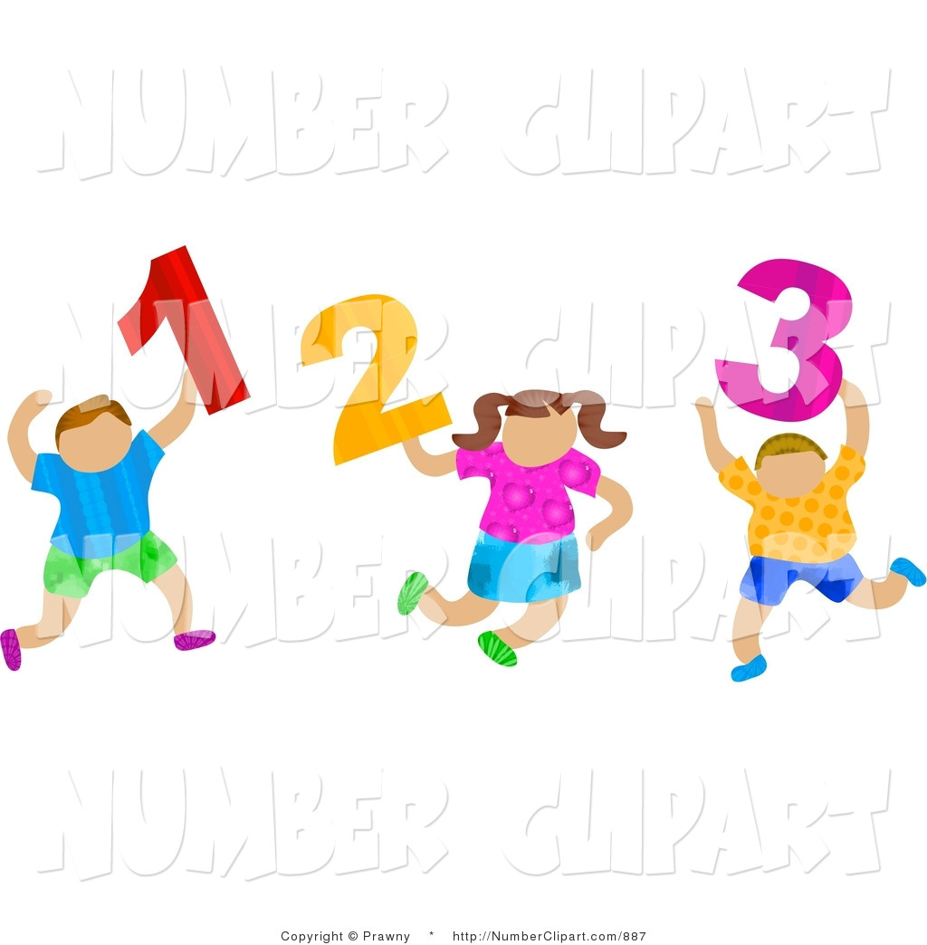 Clip Art of School Children Carrying 1 2 3 Numerals by Prawny.